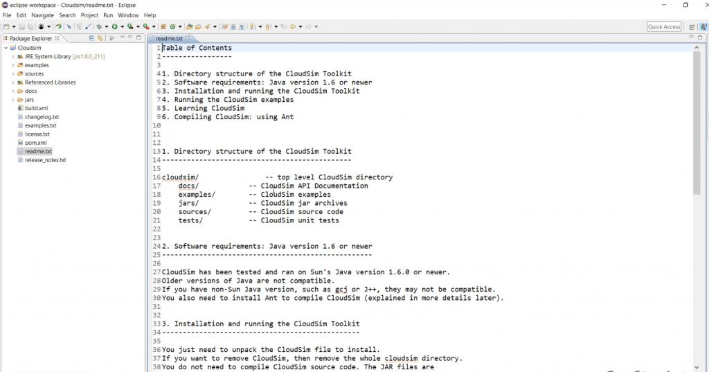 Cloudsim Readme.txt file content